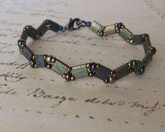 Miuyki tila beaded bracelet in green iris and by ScreamingNoodle