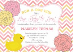 Modern Pink Rubber Duck Baby Shower Invitation by PartyPopInvites, $17.00