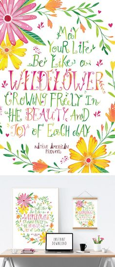 "This would look beautiful in a little girl's nursery or bedroom! ""May your life be like a wildflower growing freely in the beauty and joy of each day"". Inspiring Native American Proverb, hand lettered typographical wall art by PRINTSPIRING."