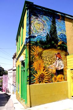 "Chilean street artist Teo Doro, nao, degra of ""vidaingravita"" has completed a new mural in Valparaíso. The design features extracts from three famous paintings by Vincent Van Gogh,The Sunflowers, Cypresses, and Starry Night. Santiago, Chile"