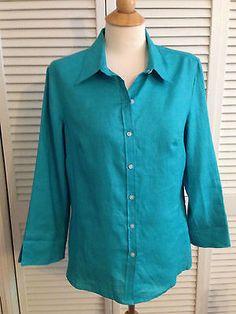 e0e7e9092f78c Talbots Women s Size 12 Blue Button Down Linen Shirt Long Sleeve Classic  Clothes