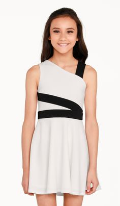 Sally Miller Blaire Dress - Ivory stretch crepe knit fully lined fit and flare dress with black trim detail Dresses For Tweens, Outfits For Teens, Girl Outfits, Girls Dresses, Short Dresses, Sally Miller, Curly Hair Styles Easy, Lace Dress Black, Dress Lace