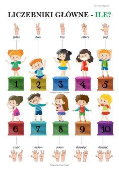 BLOG EDUKACYJNY DLA DZIECI: LICZEBNIKI GŁÓWNE - PLANSZA Toddler Learning Activities, Education, Math, Comics, Polish, Blog, Speech Language Therapy, Kids Learning Activities, Vitreous Enamel
