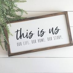 Shown here with a WHITE background, BLACK lettering, and DARK WALNUT frame. This is us. Our life. Our home. Our Story. Every family has a story that makes them who they are. Add this to your gallery wall to help tell your story! This item is handmade Farmhouse Remodel, Farmhouse Style Kitchen, Rustic Farmhouse, Farmhouse Signs, Kitchen Wood, Farmhouse Interior, Farmhouse Ideas, Kitchen Decor, Handmade Home Decor