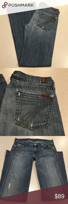 7 For All Mankind Jeans 28X34 Dojo In Nakita! ❗️PRICE ABSOLUTELY FIRM❗️ 7 for all mankind jeans Size 28 34 inch long inseam The dojo in nakita Famous gray stitched 7 back pockets Vibrant blue stretch denim with medium fading and manufacturer distressing Perfect preowned condition, no flaws Retailed for $212.00 My dojos sell fast so don't wait on these!  All of my items come from a smoke free, pet free home and are authenticity guaranteed! Please ask any questions. 404-5 7 For All Mankind…