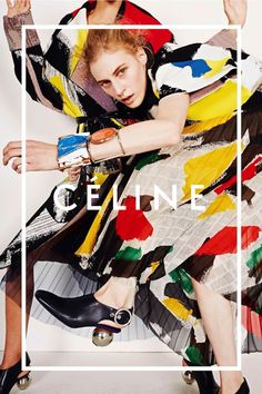 CELINE SS 2014 AD CAMPAIGNS PHOTOGRAPHER JUERGEN TELLER BRIGHT COLORFUL ABSTRACT PAINT PRINT NEWSPAPER PRINT DRESS PLEATED TUYLLE SKIRT JACKET COAT ORANGE GLOSSY EYESHADOW CHUNKY STONE CUFFS BRACELETS LEATHER SLINGBACK MULE WITH SILVER BALL HEEL