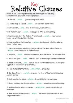 Relative Clauses - English ESL Worksheets for distance learning and physical classrooms Pronoun Worksheets, English Grammar Worksheets, Printable Worksheets, English Vocabulary, Relative Clauses, Relative Pronouns, English Lessons, Learn English, Stress