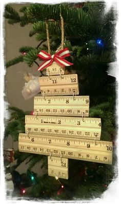 Wooden ruler Christmas ornament - - This is our teacher gift this year. Cost to make = $ 1.50 each!