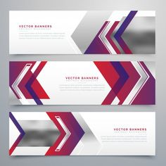 Geometric banners with metal textures Free Vector