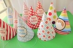 10 pcs/lot 10 Different Cute Patterns Birthday Cap For Party Decorations Baby…