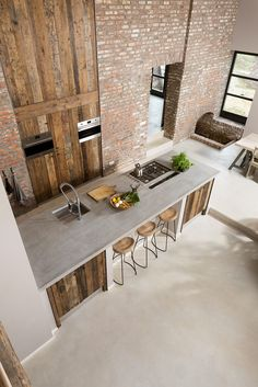 Exposed brick and reclaimed wood! This kitchen is designed by ÇA-VA! Interieur and is located in // Photo by Nicole Minneboo - Architecture and Home Decor - Bedroom - Bathroom - Kitchen And Living Room Interior Design Decorating Ideas - Beautiful Kitchen Designs, Contemporary Kitchen Design, Beautiful Kitchens, Cool Kitchens, Open Kitchens, Rustic Contemporary, Modern Design, Barn Kitchen, Rustic Kitchen