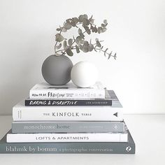 Coffee table books and Cooee vases. Product styling and photography by Justine Ash