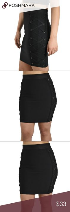  Black Bandage Lace Up Skirt High Waist mini skirt with criss cross designs on both sides. You can pair it with a crop top for a night out, with a t-shirt for a casual outfit or with a nice blouse for an elegant look. Material: 90% Polyester 10% Spandex. Din & Louie Skirts Mini