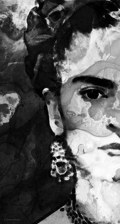 Black And White Frida Kahlo  Mixed Media Art  Acrylic Painting/Ink/Magic  Sharon Cummings  2015