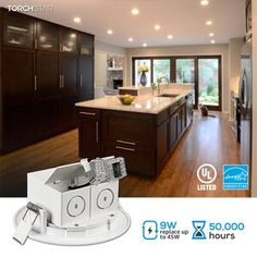 """TORCHSTAR Essential 4.92"""" Ultra Slim Remodel or New Construction IC LED Canless Recessed Lighting Kit & Reviews 