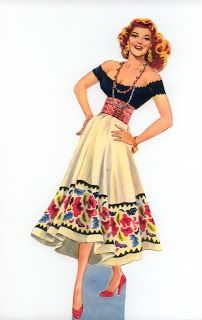 Miss Missy Paper Dolls: Rita Hayworth Carmen-Saalfield 1948 I believe.  Rita Hayworth as Carmen As with some other celebrity sets, the company loses the licensing to the rights to the person so they change the doll's face but use the same clothing Description:celebrity paper doll Name: Rita Hayworth Carmen Date:1948 Publisher: Saalfield Artist:unknown Format:8 pages 2 dolls  Condition: uncut, punched dolls internet photos