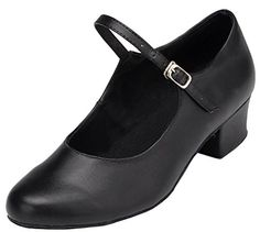Abby YFYCL168 Womens Practice Comfortable Latin Tango ChaCha Low Heel Leather Dance Shoes Black US Size105 * More info could be found at the image url.