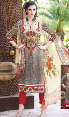 Embrace the perfect look with this gray and beige color georgette printed pant style suit. The lace, stones, printed and resham work on attire personifies the full appearance. #beigecolordress #straightdresses #pantstylesuits