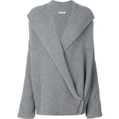 Jil Sander Wrap Knitted Sweater (£1,335) ❤ liked on Polyvore featuring tops, sweaters, gray wrap sweater, jil sander, grey sweaters, grey top and wrap style top