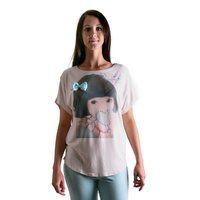 Pigiama Lungo (Twin-Set by Simona Barbieri) - Lichte pyjama in pasteltinten, korte brede mouwen. Pastelroze t-shirt met print van ondeugend hartmeisje vooraan. Lichtblauwe broek lange comfortabele broek. 93%viscose, 7%elastane.