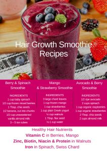Smoothie Recipes Avocado and Berry Hair Growth Smoothie - Good hair growth smoothies have protein, Vitamin C, B vitamins and Zinc for healthy hair growth. Find 3 fresh, healthy recipes for hair growth smoothies. Healthy Juices, Healthy Smoothies, Healthy Drinks, Healthy Recipes, Healthy Food, Smoothie Diet, Healthy Skin, Healthy Life, Healthy Hair Growth