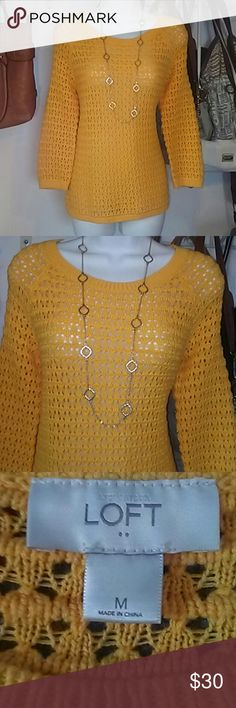 💕Ann Taylor LOFT Yellow Knit Sweater ✨🎀MAKE AN OFFER USING THE OFFER BUTTON!🎀✨ SAVE MORE ON ANY SINGLE ITEM WHEN YOU BUNDLE!  Bought and never wore. Nwot. 100% Cotton Ann Taylor LOFT Sweaters Crew & Scoop Necks