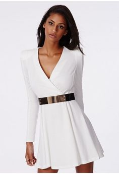Rosa Crossover Skater Dress In White - Dresses - Missguided