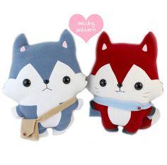 """Plushie sewing pattern bundle PDF - Husky Wolf & Fox cute soft plush toy - cuddly stuffed animal 14"""""""