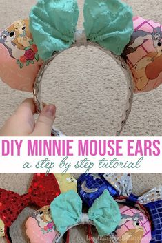 disney crafts How to make your own DIY Minnie Mouse Ears! This step by step tutorial will have you making your own Minnie ears in no time! Minnie Mouse Ears Disneyland, Diy Disney Ears, Disney Mickey Ears, Disney Minnie Mouse Ears, Disney Babies, Disney Home, Disney Tips, Disney Fun, Disney Travel
