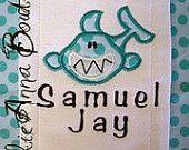 Custom boutique SHARK baby boy Burp Cloth Personalized applique MONOGRAMMED