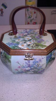 1960s Vintage Blue Green Floral Wood Box Decoupage Purse Daisies by Jillsjewelsfl on Etsy, $64.00