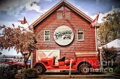 Geneva On The Lake Firehouse by The Art of Alice Terrill - automobil Lake Geneva, Shower Set, Fire Trucks, Vintage Cars, Fine Art America, Automobile, Alice, Old Things, Cabin