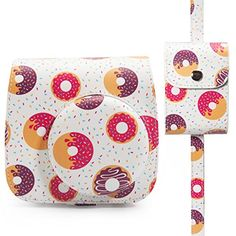 Woodmin Groovy Donut PU Leather 2in1 Accessories Bundle Set for Fujifilm Instax Mini 88 Camera Camera casePhoto case *** Read more reviews of the product by visiting the link on the image. This is Amazon affiliate link.