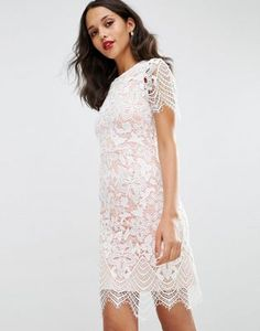 ASOS Bodycon Pencil Dress in Border Lace Tube Dress 2e9f05e14132