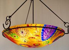 Painted Chandelier by artist Jenny Floravita Painted Chandelier, Chandelier For Sale, Light Art, Abstract Art, Hand Painted, Ceiling Lights, Sunset, Pendant, Artist