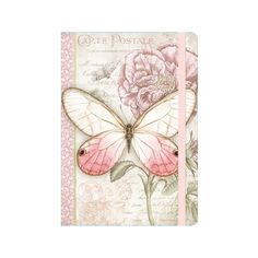 Pink Butterfly Deluxe Journal ($12) ❤ liked on Polyvore featuring home, home decor and stationery