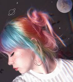 Indie Scene Hair Grunge Hair Colors - Indie scene hair grunge – indie-szene hair grunge – scène indie cheveux g - Hair Dye Colors, Cool Hair Color, Rainbow Hair Colors, Scene Hair Colors, Pastel Rainbow Hair, Creative Hair Color, Multicolored Hair, Hairstyles With Bangs, Pretty Hairstyles