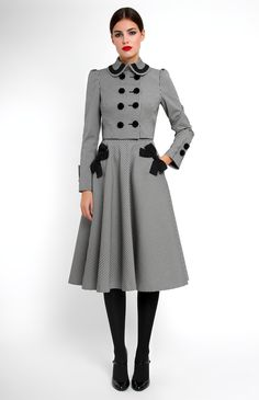 Thick stretchy cotton suit with ribbon trim. Double-breasted jacket with velvet buttons. Side seam pockets decorated with designer handmade bows. Hidden back zip closure. Good base for a Steampunk outfit. Modest Fashion, Hijab Fashion, Fashion Dresses, Mode Abaya, Mode Hijab, Vintage Dresses, Vintage Outfits, Vintage Fashion, Look Fashion