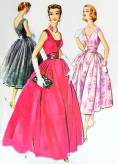 1950s Stunning Evening Gown or Cocktail Party Dress and Cummerbund Pattern McCalls 4290 Figure Flattering Deep V Necklines Full Skirt Bust 3...