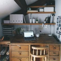 work-from-home workspace - antique desk with modern accessories in a little corner nook. @me_and_orla