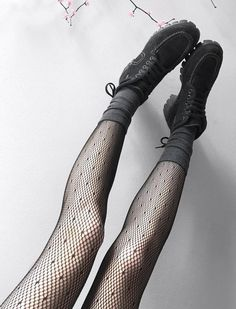 Dot Design Fishnet Stockings - #grunge #tights #fishnet