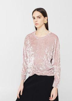Velvet sweatshirt -  Women   MANGO USA