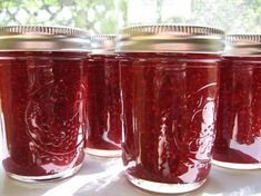 Raspberry & Apple Jam from Food.com: This jam recipe is very easy to make and delicious! I like using apple with raspberries. I use pectin because it cuts down the cooking time and sugar significantly and makes the jam nice and thick. This recipe makes nine 8oz. jars. You can cut this recipe in half for a smaller batch. Enjoy!