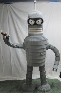 """Six-foot-tall Lego Bender from """"Futurama"""" hoards booze in its chest."""