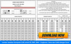 Lembar Jawaban Komputer (LJK) untuk SD SMP SMA - Lingkaran Cakra dan Ceklis dengan Excel