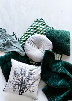 emerald green and white pilows