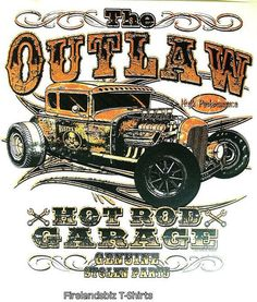 Rat Rod Outlaw Hot Rod Garage Mens Quality Car T Shirt