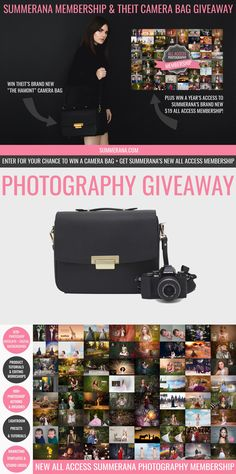 PHOTOGRAPHY GIVEAWAY: Enter to win a THEIT Camera Bag + 1 year's access to Summerana's Entire Shop Photography Membership!  Prizes:  -1 Year's Membership -1 year's access to Summerana's NEWLY LAUNCHEDEntire Shop Photography Membership which  includes thousands of Photoshop actions, editing workshops, overlays, digital backgrounds, marketing templates, logos, brushes, tutorials, & more. -1 Theit Camera Bag  Image: Annie Hall Photography