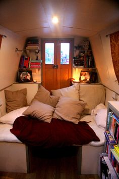 Sofa turns into cosy lounging space or spare double bed for guests Barge Boat, Canal Barge, Canal Boat, Barge Interior, Best Interior, Narrow Boats For Sale, Narrowboat Interiors, Van Living, Boat Stuff