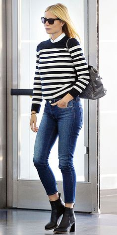 Love Her Outfit! Star Style to Steal | GWYNETH PALTROW | We may not always agree with Gwyneth's claims to be the everywoman, but when it comes to airport dressing, she certainly is closer to our style than many other stars. We love the Parisian effect of her square frames, mock collar, blue-and-white stripes and chunky/comfy boots. Bonus points for a practical carry-on bag.